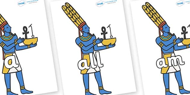 Foundation Stage 2 Keywords on Egyptian Gods - FS2, CLL, keywords, Communication language and literacy,  Display, Key words, high frequency words, foundation stage literacy, DfES Letters and Sounds, Letters and Sounds, spelling