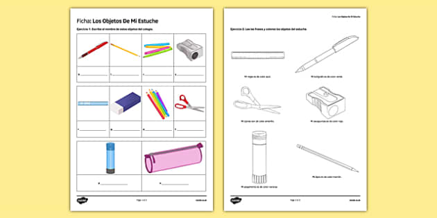 Los objetos de mi estuche In My Pencil Case Spanish Activity Sheet - spanish, pencil case items, estuche, ficha, worksheet, clase, colours, writing, escribir