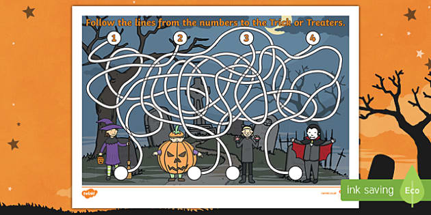 Halloween Themed Pencil Control Maze Activity