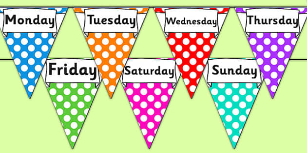 Days of the Week Display Bunting - days of the week bunting