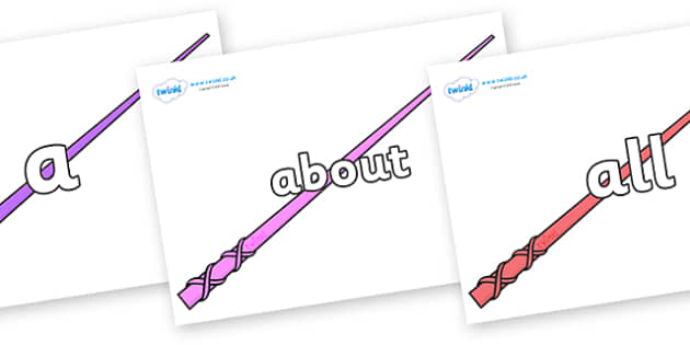 100 High Frequency Words on Wands - High frequency words, hfw, DfES Letters and Sounds, Letters and Sounds, display words