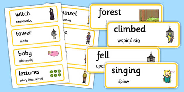 Rapunzel Word Cards Polish Translation - polish, rapunzel, word cards, word, cards