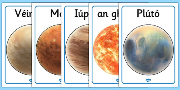 Our Solar System Display Posters Gaeilge - gaeilge, poster, displays
