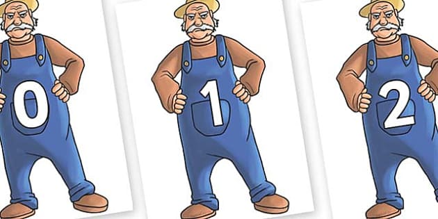 Numbers 0-100 on Angry Farmer - 0-100, foundation stage numeracy, Number recognition, Number flashcards, counting, number frieze, Display numbers, number posters