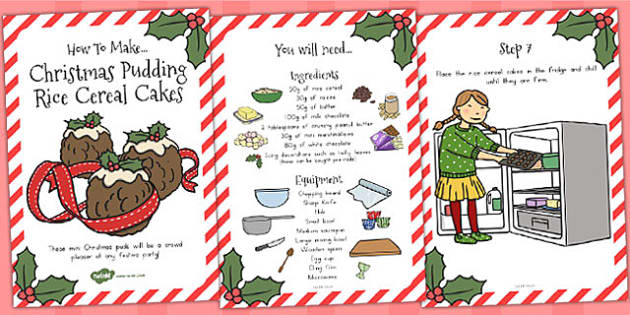 Christmas Pudding Rice Cereal Cakes Recipe Cards - australia