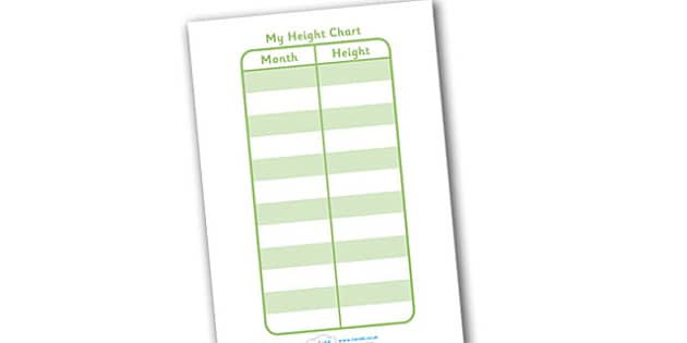 Individual Child's Height Chart - education, home school, free