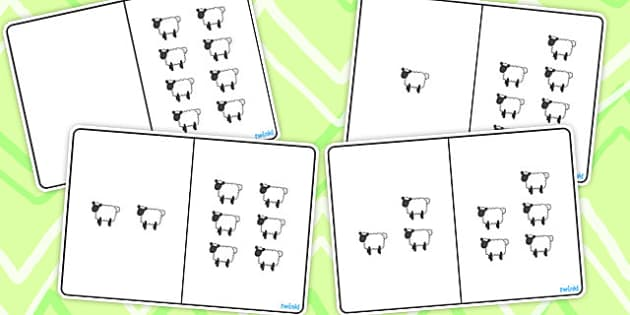 Sheep Counting Number Bonds to 8 - numbers, count, numeracy