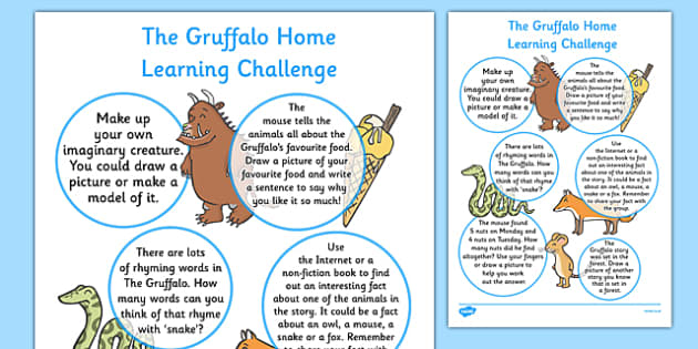EYFS Home Learning Challenge Sheet to Support Teaching The Gruffalo Reception FS2 - EYFS, homework, Early years, Julia Donaldson