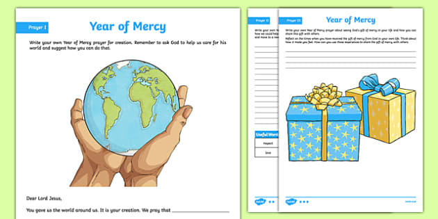 Year of Mercy Prayer Activity Sheet, worksheet