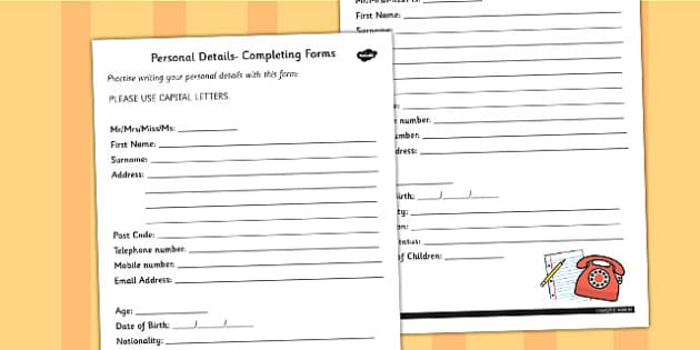 Personal Details Mock Form Worksheet - worksheet, details, mock