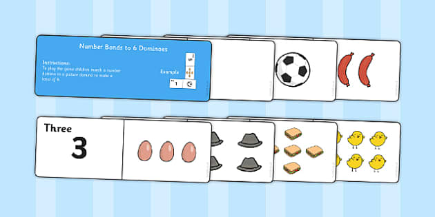 Number Bonds to 6 Dominoes - maths, numeracy, game, activity, counting, adding, early years, ks1, key stage 1