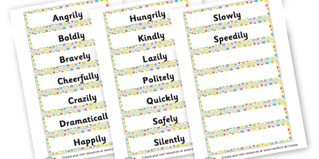 Adverbs Labels - KS2 Verbs and Adverbs Primary Resources, Verbs, Adverbs, KS2 Words