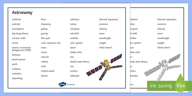 Edexcel Physics Astronomy Word Mat - Word Mat, edexcel, gcse, physics, astronomy, space, star, life cycle of star, stars, big bang, big b