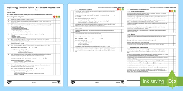 AQA Trilogy Unit 6.1 Energy Student Progress Sheet - Student Progress Sheets, AQA, RAG sheet, Unit 6.1 Energy, revision, energy, physics