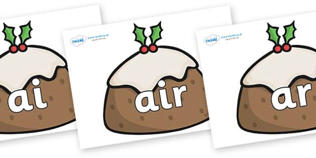 Phase 3 Phonemes on Christmas Puddings - Phonemes, phoneme, Phase 3, Phase three, Foundation, Literacy, Letters and Sounds, DfES, display