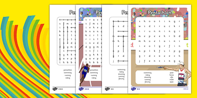 The Olympics Pentathlon Word Search - the olympics, rio 2016, rio olympics, 2016 olympics, pentathlon, word search