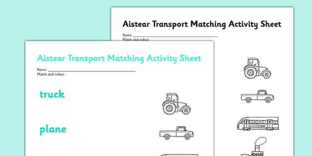 Aistear Transport Matching Activity Sheet - roi, irish, republic of ireland, aistear, transport, worksheet