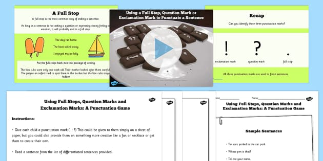 Using a Full Stop Question Mark or exclamation Mark Lesson pack