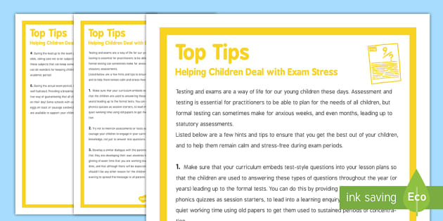 Top Tips For Helping Children Deal With Exam Stress - top tips, helping, children, exam, stress, deal