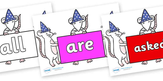 Tricky Words on Magic Mice - Tricky words, DfES Letters and Sounds, Letters and sounds, display, words
