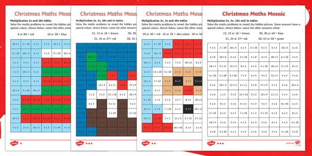 Christmas Multiplication Mosaic Activity Sheets - Christmas