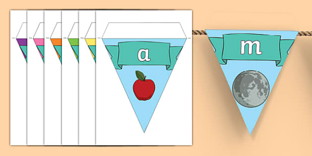 Alphabet Display Bunting - phase 1, phase one, bunting, themed bunting, display bunting, bunting flags, flag bunting, cut out bunting, paper bunting, flags