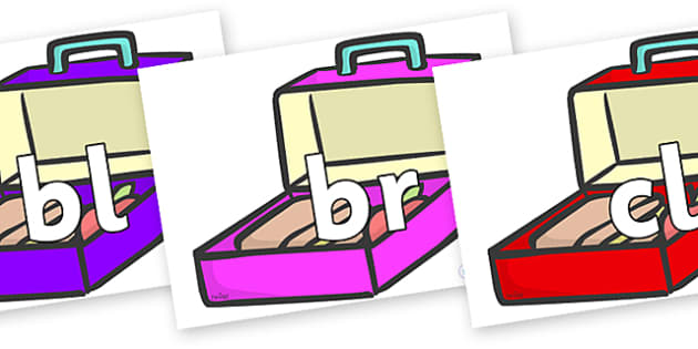 Initial Letter Blends on Lunch Boxes - Initial Letters, initial letter, letter blend, letter blends, consonant, consonants, digraph, trigraph, literacy, alphabet, letters, foundation stage literacy