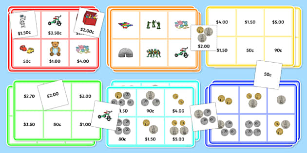 Toy Shop Bingo up to 5 Dollars Activity Pack - money, dollars,cents, game, activity, grocery store, game, fun, maths, australia, numeracy, coins, notes,