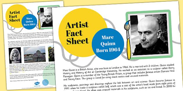 Artist Fact Sheet Marc Quinn - artist, fact, sheet, marc quinn
