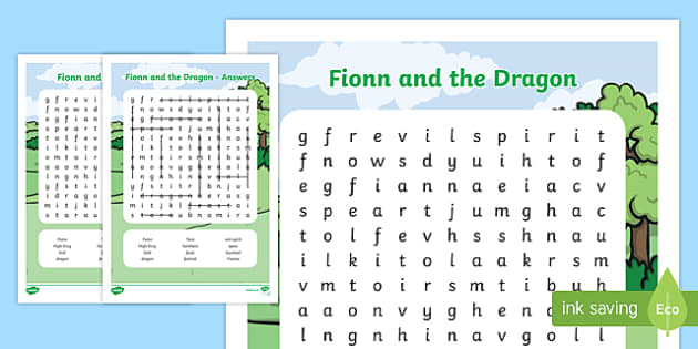 Fionn and the Dragon Themed Word Search - Irish history, Irish story, Irish myth, Irish legends, Fionn and the Dragon, wordsearch