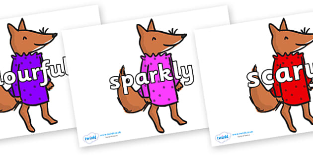 Wow Words on Small Fox 3 to Support Teaching on Fantastic Mr Fox - Wow words, adjectives, VCOP, describing, Wow, display, poster, wow display, tasty, scary, ugly, beautiful, colourful sharp, bouncy