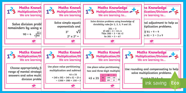 Multiplication and Division Stage 7 WALT Display Posters - WALT cards for NZ Mathematics, Stage 7 Maths, Stage 7 Numeracy, Numeracy Project, NZ Maths, Year 7 M
