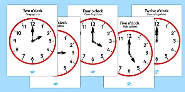 Analogue Clocks Hourly Polish Translation - polish, Time resource, Time vocaublary, clock face, O'clock, half past, quarter past, quarter to, shapes spaces measures