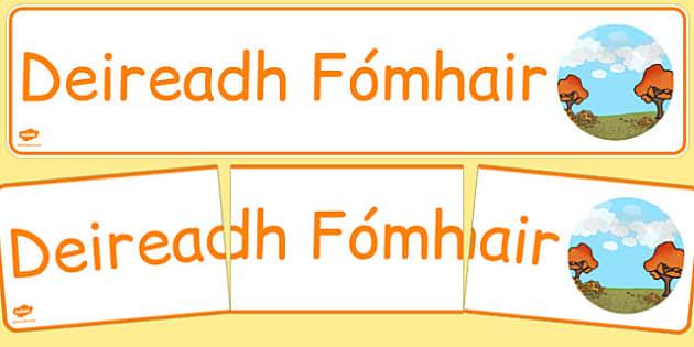 Deireadh Fómhair Display Banner Gaeilge - gaeilge, year, months of the year, october