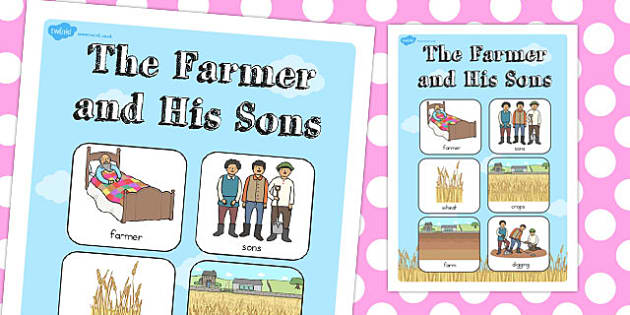 The Farmer and His Sons Vocabulary Poster - australia, poster