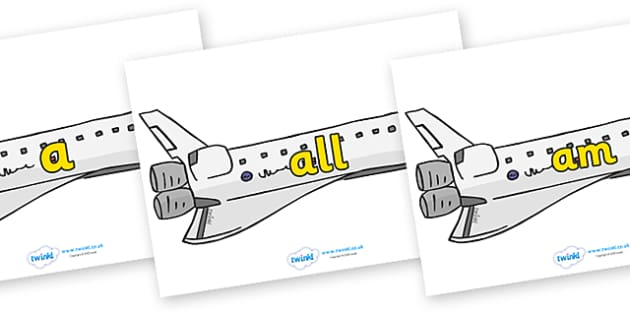 Foundation Stage 2 Keywords on Space Shuttles - FS2, CLL, keywords, Communication language and literacy,  Display, Key words, high frequency words, foundation stage literacy, DfES Letters and Sounds, Letters and Sounds, spelling