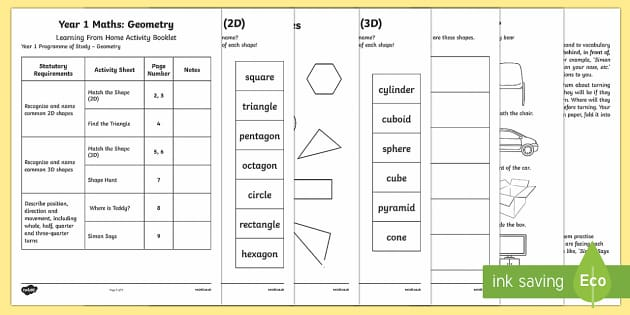 Year 1 Maths Geometry Learning From Home Activity Booklet Activity Booklet