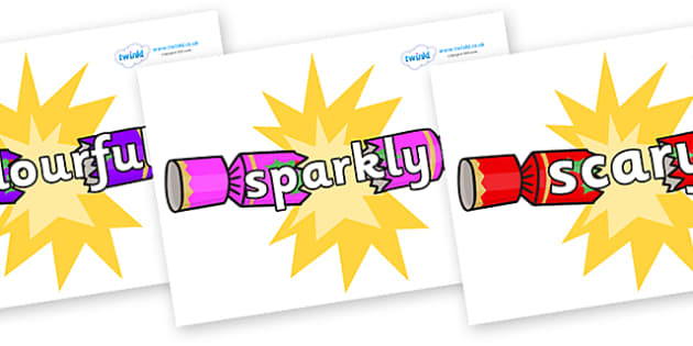 Wow Words on Christmas Crackers (Cracking) - Wow words, adjectives, VCOP, describing, Wow, display, poster, wow display, tasty, scary, ugly, beautiful, colourful sharp, bouncy