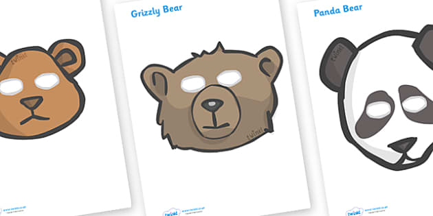 Bear Role Play Masks - role play mask, role play, bear, mummy bear, daddy bear, baby bear,