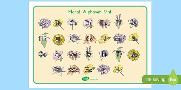 Floral Alphabet Mat