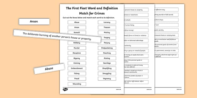 The First Fleet Word and Definition Match for Crimes - australia, The First Fleet, definitions, dictionaries, match, words, find, crimes, convicts