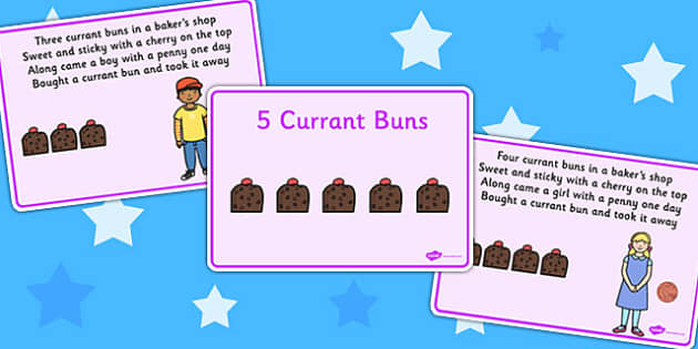 5 Currant Buns Story Sequencing - story sequence, 5 currant buns