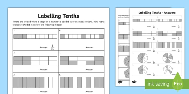 Labelling Tenths Activity Sheet - Learning from home Maths Workbooks, tenths, labellng, fractions, worksheet.