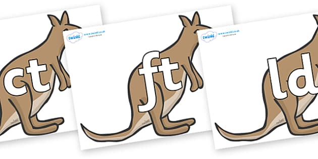 Final Letter Blends on Kangaroos - Final Letters, final letter, letter blend, letter blends, consonant, consonants, digraph, trigraph, literacy, alphabet, letters, foundation stage literacy