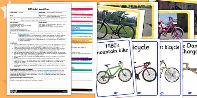 Printing a Bike Shaped Picture EYFS Adult Input Plan and Resource Pack