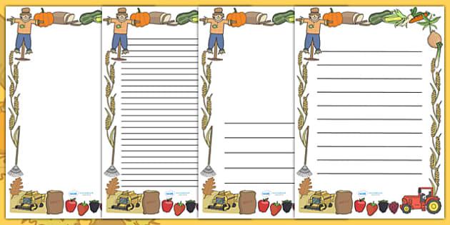 Harvest Page Borders - Page border, border, Harvest, Autumn, seasons,  A4, display, harvest,  harvest festival, fruit, apple, pear, orange, wheat, bread, grain, leaves, conker