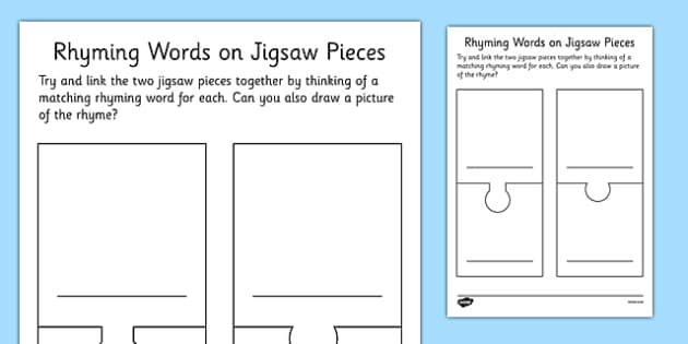 Rhyming Words Jigsaw Pieces Blank Template - rhyming words, jigsaw pieces, blank, template