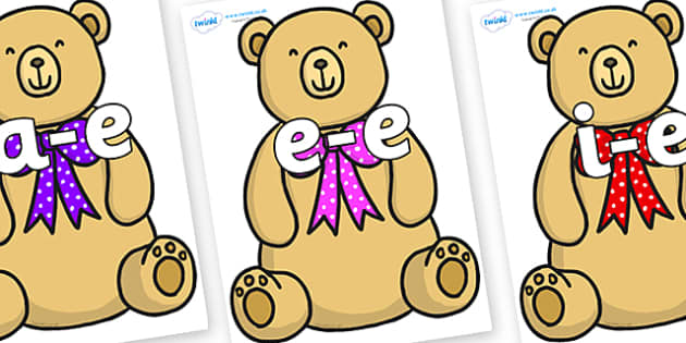 Modifying E Letters on Bow Tie Teddy - Modifying E, letters, modify, Phase 5, Phase five, alternative spellings for phonemes, DfES letters and Sounds