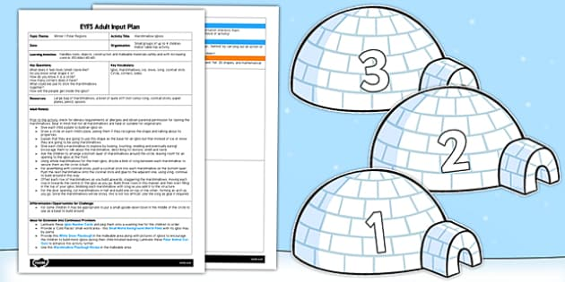 Marshmallow Igloos EYFS Adult Input Plan - EYFS, planning, early years, winter, polar, artic, snow, fine motor