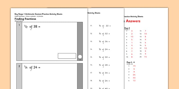 KS1 Arithmetic Content Practice Activity Sheets Finding Fractions of Quantities Polish Translation - polish, Maths, KS1, Key Stage 1, Arithmetic, fractions, half, quarter, third, three quarters, worksheet